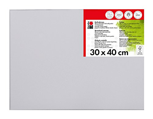 Marabu 1616000000301 - Keilrahmen, ca. 30 x 40 cm, Rahmentiefe ca. 1,8 cm, weiß, mit 380 g/qm Baumwolle bespannt, 3 fach grundiert, leicht saugend, für Acryl-, Öl-, Gouache- und Temperafarben