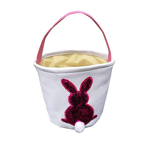Jolly Jon Easter Bunny Basket Bag - Pink to Silver Sequin Colors - Kids Easter Egg Hunt Baskets - Color Changing Reusable Party Bags - Rabbit with Cotton Tail Canvas Tote
