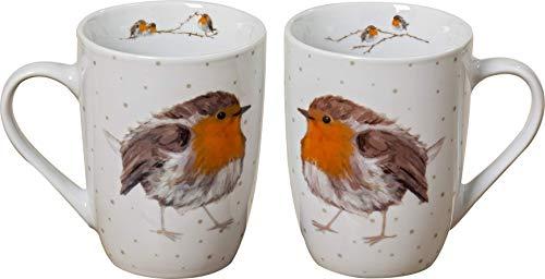 B&B 2 STK Kaffeetassen 330ml ROTKELCHEN Robin Tassen Porzellan Glühweintassen Kaffeebecher Tasse Waldtiere Vögel Jumbobecher Vintage Emaille