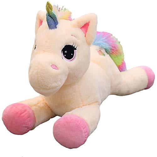 Georgie Porgy Kinder Plüsch Einhorn Teddy Stofftier mit mehrfarbigen Regenbogenschwanz Kuscheltier Pony Kuschelgeschenke für Mädchen ab 3 Jahren (Rosa)