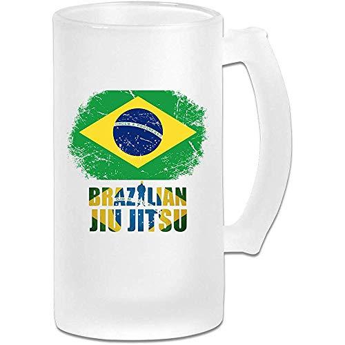 Braziliaanse Jiu-Jitsu Frosted Glass Stein Bier Mok, Pub Mok, Drank Mok, Cadeau voor Bier Drinker, 500Ml (16.9Oz)