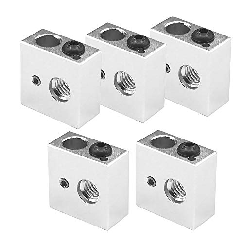 Saipor Aluminum Heater Block Specialized for MK7 MK8 Makerbot Reprap 3D Printer Extruder Kit (Pack of 5pcs)