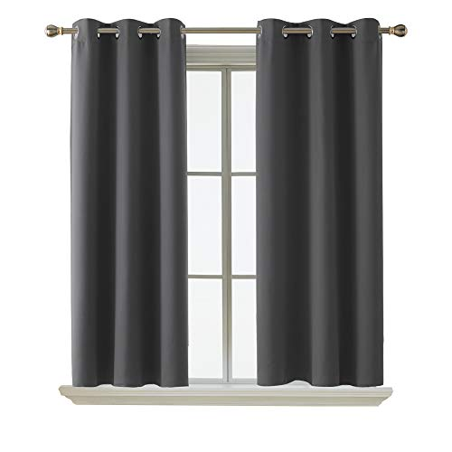 Deconovo Grommet Curtain Panel Thermal Insulated Blackout Curtains for Living Room 38 x 45 Inch Dark Grey 2 Curtain Panels