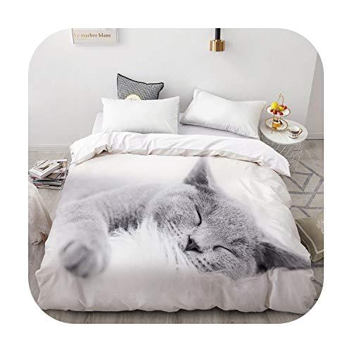 happy Boutique Bettbezug 3D-Flauschig / Bettdecke / Decke für Doppelbett / Königin / King Size, personalisierbar, 220 x 240 cm, 200 x 200 cm, Katzen-Motiv Endormi-Pet-05 – 155 x 215 cm, 1 Stück