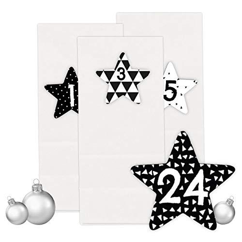 PaPIerDraCHeN Adventskalender Set - 24 Weiße Tüten mit 24 Schwarz weißen Zahlenaufklebern - zum Selbermachen - Adventskalender zum Befüllen - Mini Set 40 - von