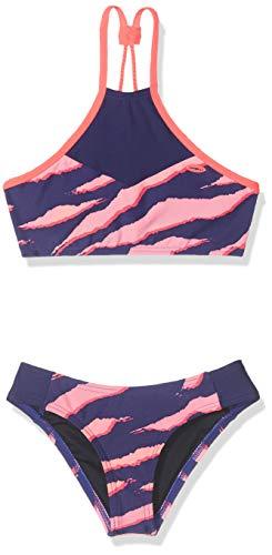 O'NEILL Pg - Bikinis de Cuello Alto para niña, Niñas, Bikinis, 9A8374, Azul AOP con Rosa/Púrpura, 140