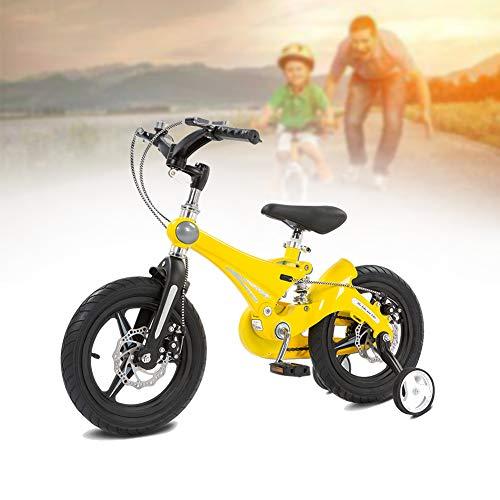 NEWPIN magnesiumlegering fiets kwaliteit kinderfiets met schokdemperveren, stuur en zadel in hoogte verstelbaar, afneembare steunwielen