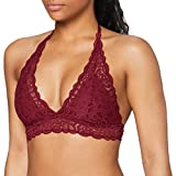 Marca Amazon - IRIS & LILLY Crochet Lace Halter Sujetador Estilo Bralette Mujer, Rojo (Rhododendron), M, Label: M