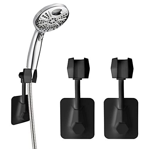 Handheld Shower Head Holder Suction Cup, 3 PCS 360°Rotatable Shower Head Holder Wall Mount Bracket Adjustable, Adhesive Shower Head Wall Mount Holder for Handheld Shower Head