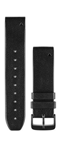 Garmin 010-12500-02 QuickFit 22 Uhrenarmband, perforiertes Leder, Zubehör für Fenix 5 Plus/Fenix 5, Schwarz