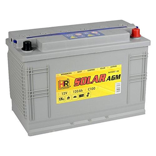 HR Solar AGM   12V 120Ah Versorgungsbatterie als Wohnmobilbatterie Bootsbatterie Solarbatterie Wohnwagenbatterie VRLA Vliesbatterie