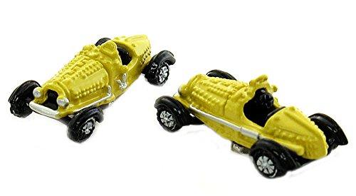 Unbekannt Manschettenknöpfe Oldtimer Seifenkiste Fahrzeug Auto gelb schwarz silbern Plus schwarzer Exklusivbox