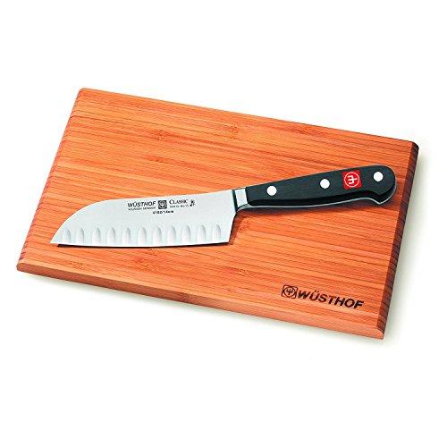 "Wusthof Classic 5"" Hollow Edge Santoku Knife with Cutting Board"