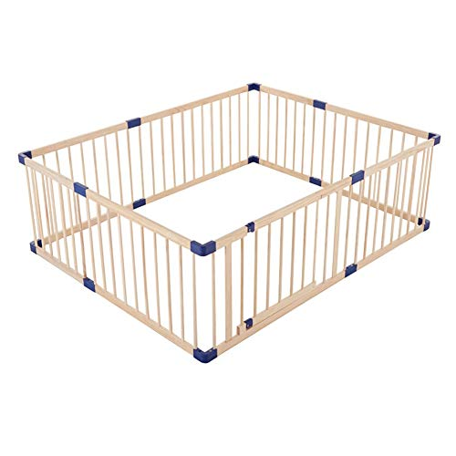 For Sale! Play yard Portable Wooden Baby Playpen Large Toddlers Safety Fence with Walk-Through Door, 11 Sizes, Height 24.4 Inch (Size : 150x180x62cm)