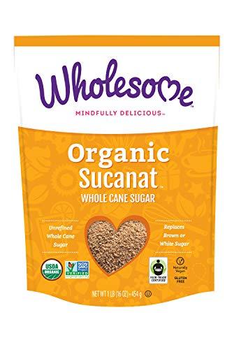 Wholesome Organic Sucanat, Unrefined Whole Cane Sugar, Fair Trade, Non GMO & Gluten Free, 1 Pound (Pack of 12)