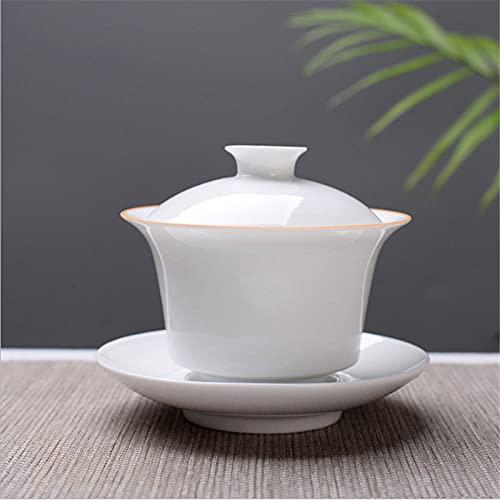 China Taza de té Tradicional, Conjunto de té de té de té de la cerámica Gaiwan Gaiwan, Taza de té de Kungfu de la Porcelana China y platillo con la Tapa-8_150 ml