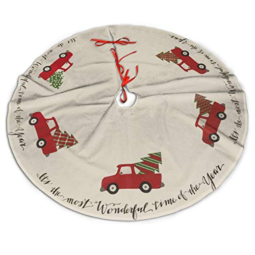 MSGUIDE Christmas Tree Skirt 48 Inch Truck It's The Most Wonderful Time of The Year Xmas Holiday Party Supplies Large Tree Mat Decor for Indoor Outdoor Home Ornaments