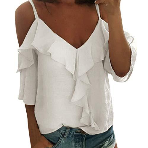 VEMOW Camisole Blusas Tirantes de poliéster para Mujer con Cuello en V Halter con Volantes Camiseta(Blanco,L)