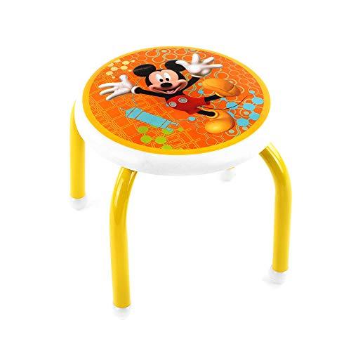 Magazzini Coratella - Taburete redondo de plástico y metal de Mickey Mouse, para dormitorio de juegos