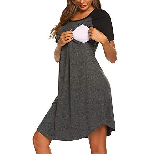 RISTHY Mujer Vestido Premamá Vestidos de Dormir Pijamas Vestido de Maternidad de Lactancia Verano Mangas Cortas Multifuncional Cuello Redondo Sólido Midi Vestido Embarazada