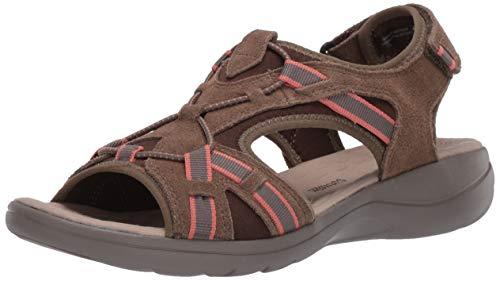 Clarks Women's Saylie Loop Sport Sandal, Taupe Suede, 9.5