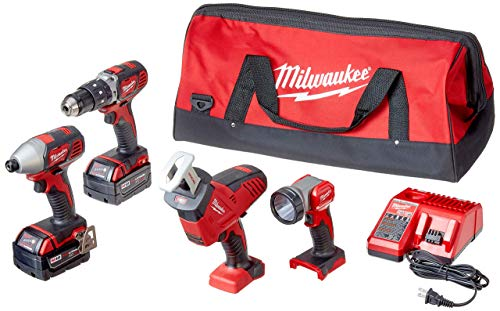 Milwaukee 2695-24 M18 18V Cordless Power Tool Combo Kit with Hammer Drill, Impact Driver, Reciprocating Saw, and Work Light (2 Batteries, Charger, and Tool Case Included) (Renewed)