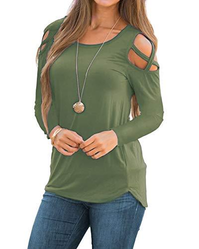 Martiount Damen Langarm T-Shirt Criss Cross Schulterfrei Tunika Rundhals Einfarbig Oberteile Lässige Trägerbluse, Army Green, L/ EU44