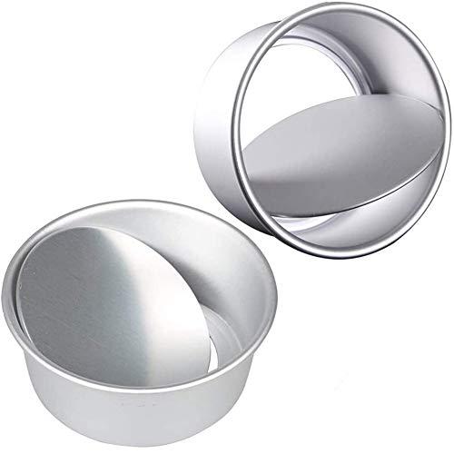 Juego de 2 moldes redondos de aluminio antiadherentes de 20,3 cm con fondo extraíble para bodas, cumpleaños o tartas de Navidad, con base suelta.