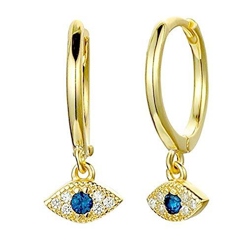 Pendientes de aro de oro de 14 k Pendientes de aro chapados en plata esterlina azul pequeño CZ Pendientes de mal de ojo para mujer Chica (Oro)