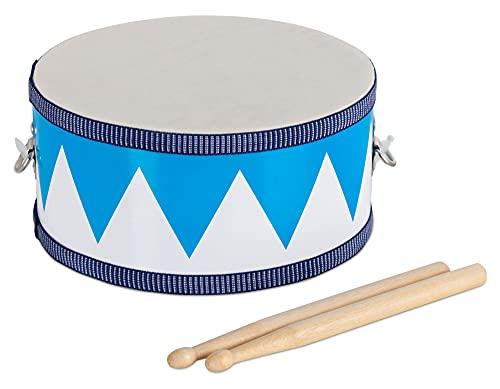 Classic Cantabile Tambor infantil de madera – Instrumento musical para tambor y colgar – Tambor para niños incluye baquetas – Ideal para niños a partir de 3 años – Color blanco y azul