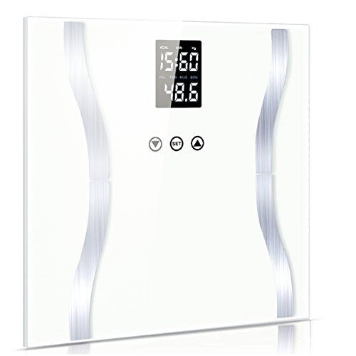 Fypo Bilancia impedenziometrica,bilancia pesapersone,misuratore massa grassa,liquidi, muscoli,massa ossea, Indice di massa corporea (BMI), schermo LCD,supporti antiscivolo