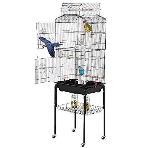 Best Pet Bird Cage 64-inch Open Top Standing Medium Small Parrot Parakeet Bird Cage with Rolling Stand for Lovebirds Parakeets Cockatiels and Parrotlet, Pet Flight Bird Cage Birdcage , Black