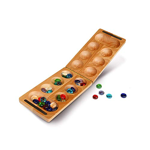 WE Games Folding Mancala with Solid Wood Board & Glass Stones - 18 in.