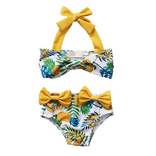 xkwyshop Toddler Girl Swimsuit 2 Piece Swimwears, Lemon/Pineapple Swimsuit, Straps Sleeveless Toddler Girl Bathing Suit (Yellow, 4-5T)