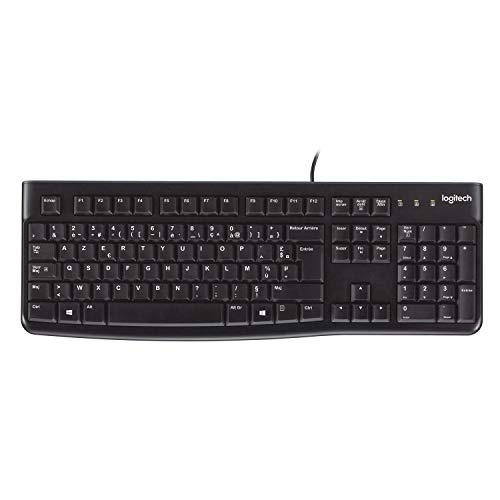 Logitech K120 Teclado con Cable para Windows, Tamaño Normal, Resistante a Líquido, Barra Espaciadora Curvada, PC/Portátil, Disposición AZERTY Francés, Color Negro