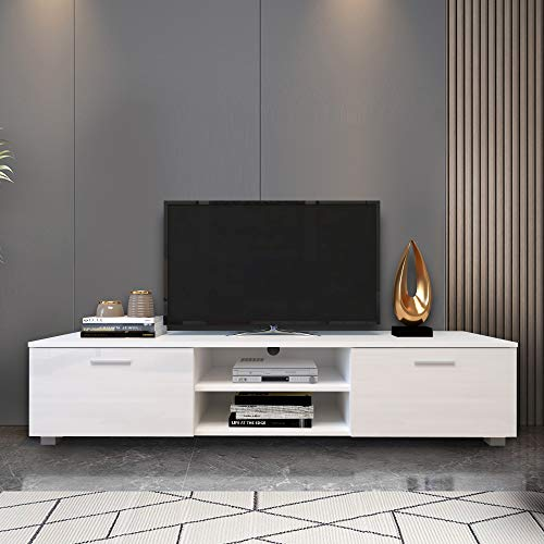Fomgeely Modern 70 inch Television Stand for LED/LCD/Plasma Cabinet TV Stand, White TV Cabinet, tv & Media Furniture, Entertainment Center White TV Stand for 70 inch, TV Table for Living Room