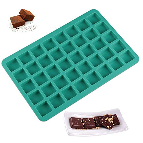Mity rain 40-Cavity Square Caramel Candy Silicone Molds,Chocolate Truffles Mold,Whiskey Ice Cube Tray,Grid Fondant Mould,Hard Candy Mold Pralines Gummy Jelly Mold