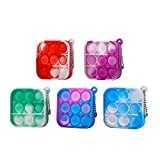 5 Pcs Simple Fidget Toy Pop Fidget Toy Mini Stress Relief Hand Toys Keychain Toy Push Pop Bubble Wrap Pop Anxiety Stress Reliever Office Desk Toy for Kids Adults