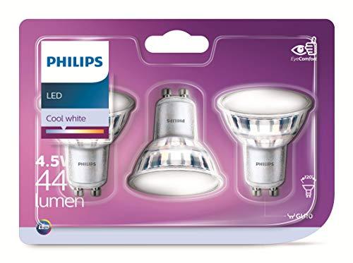 Philips LED-Leuchtmittel, GU10, 5 W, entspricht 50 W, 380 Lumen, Kaltweiß, 3 Stück
