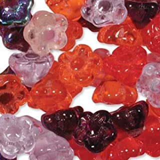 100 Czech Glass Flower Beads. Melonberry Mix. Hole is Side to Side Through The Shank. Use for Jewelry Making, Braiding, Kumihimo, Macramet