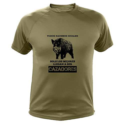 AtooDog Camisetas Personalizadas de Caza, Todos nacemos Iguales, Ideas Regalos, Verraco (30142, Verde, XL)