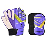 Sportout Guantes de portero para niños y jóvenes, juego de espinilleras, guantes de entrenamiento de fútbol para niños y niñas (púrpura, 7)