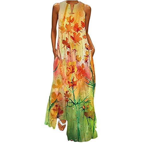 Sommerkleid Damen Lang V-Ausschnitt Ärmellos Kleider mit Taschen Damen Lang Vintage Kleider Blumen Sonnenblume Druck Kleider Elegant Lang Maxikleid Bunt Abendkleider...