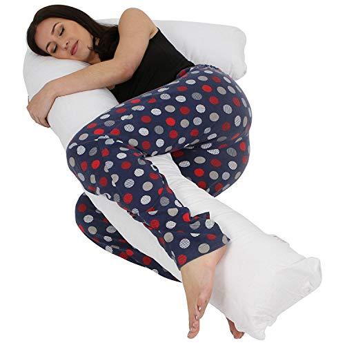 Hometex Almohada de embarazo en forma de L para apoyo corporal – Uso cómodo de maternidad