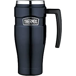 professional Thermos Stainless Steel King 16oz Label Mug, with Handle, Dark Blue