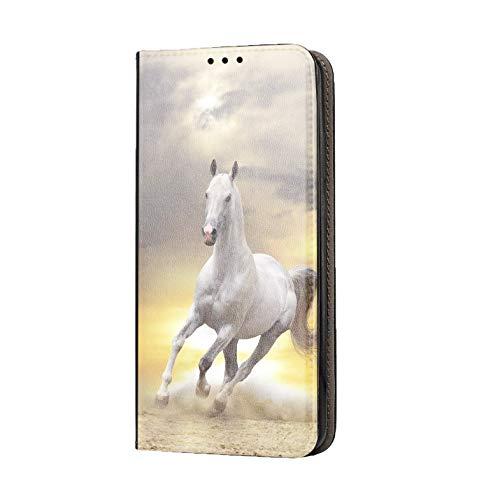 KX-Mobile Motorola One Hülle - Handyhülle für Motorola One - Handycover aus Kunstleder Motiv 1021 Pferd Hengst Weiß Schutzhülle Smart Klapphülle Hülle