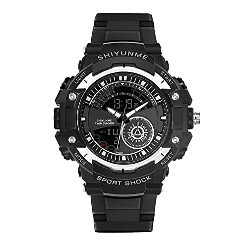 EATAN Reloj Militar para Hombre Doble Pantalla 164FT Impermeable Multifuncional Reloj Deportivo Cronómetro Calendario Alarma Reloj Militar