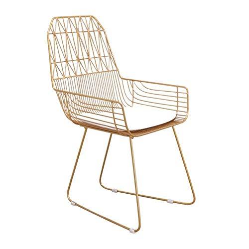 HYY-YY Silla de comedor, sillas de comedor, elegantes sillas de recepción, sillón moderno para restaurante, salón (color: dorado, tamaño: 52 x 52 x 92 cm)