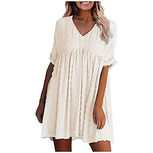 Zzbeans Damen Kleider Kurz, Summer Damen Kleider Sexy V Ausschnitt Einfarbig Beiläufig Kleid, Mode Sommer Kurzarm Kleider Elegant Swing Kleider Damen