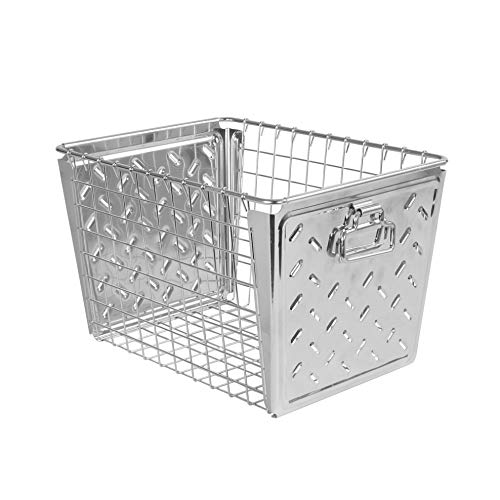 Spectrum Macklin, Stamped Steel & Wire Basket for Closet & Cubby Storage Vintage-Inspired Design with Customizable Label Plate, Medium, Chrome